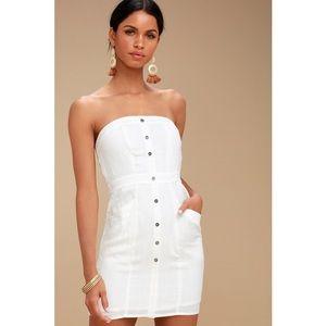 LULUS MAKE YOU MINE WHITE STRAPLESS MINI DRESS